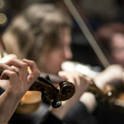 Photo of players in orchestra